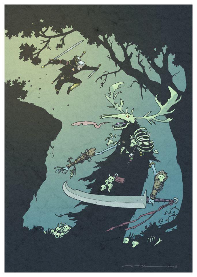 Geralt versus Leshen. Fan Art Contest submission by Pere Mejan.