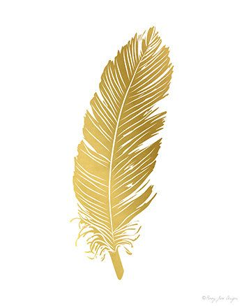 Feathers Art Print Gold Feather Art Digital Art by PennyJaneDesign