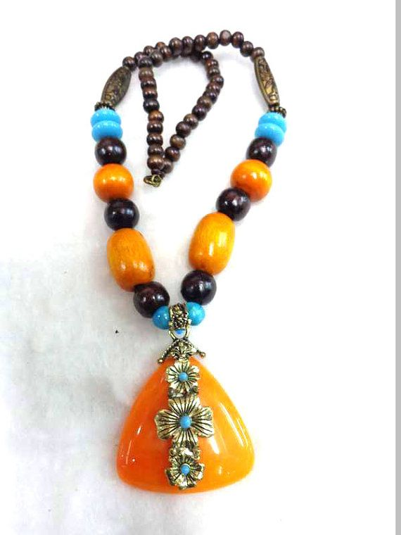yellow tibetan Necklace/Amber Necklace/Bohemian Necklace/Chunky Necklace/Statement Necklace /Beaded Necklace - Beaded Jewelry