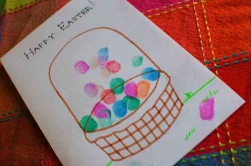 finger print egg Easter basketEggs Easter, Thumb Prints, Easter Cards, Easter Crafts, Fingers Prints, Eggs Baskets, Easter Eggs, Easter Baskets, Easy Easter