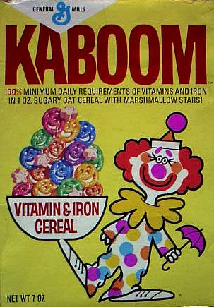 """Kaboom cereal - sometimes two of the little faces would stick together. My sister and I called those 2 faces stuck together """"Hager Brothers"""" after the twin brothers who sang on TV's Hee Haw. 1971"""