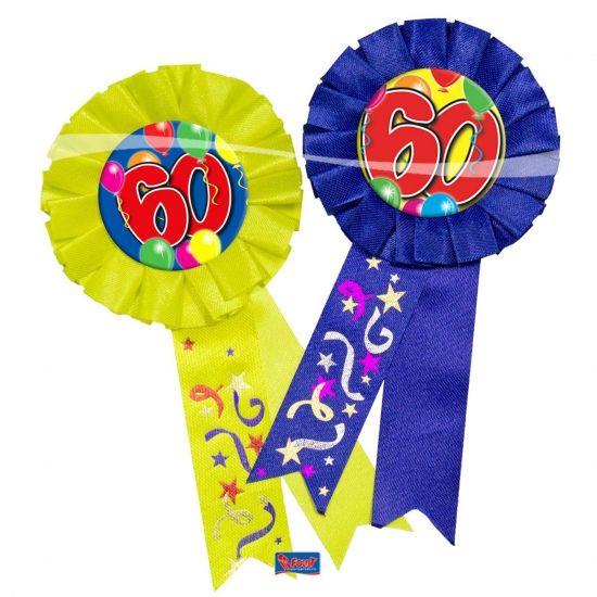 Verjaardagsrozet 60 jaar. Makkelijk te bevestigen aan kleding. Materiaal: stof. Leuk voor uw verjaardag of 60 jarig jubileum.