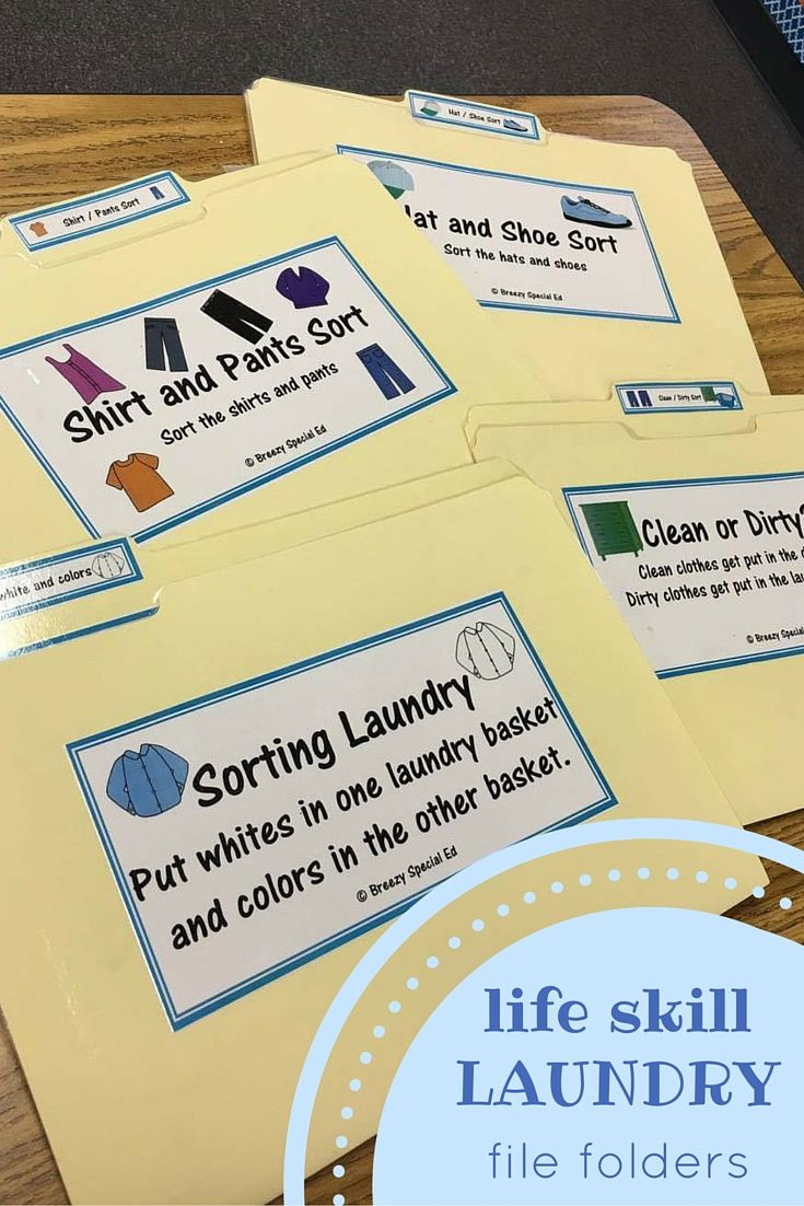 Work on life skills such as laundry skill in the classroom by using file folders. Perfect for my special education students