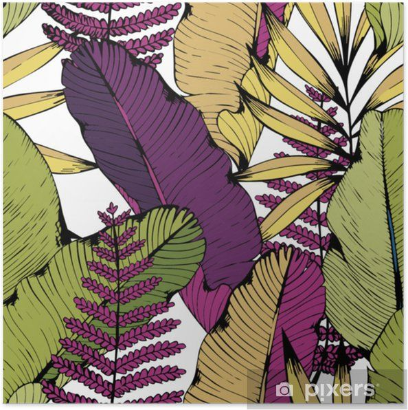Póster Patrón transparente de vector con ramas tropicales y hojas ...