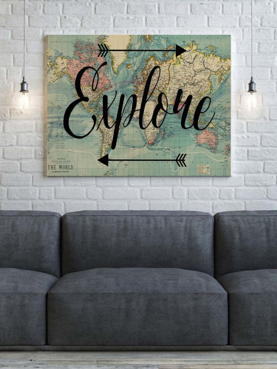 World Map Canvas Explore Wanderlust Canvas World by PartyInked