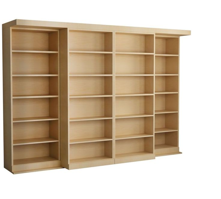 Sliding bookcases to hide murphy bed - The Abbott Library Murphy Bed in Maple - Natural Finish