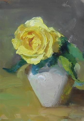 "Daily Paintworks - ""Yellow Rose Study"" by Kelli Folsom"