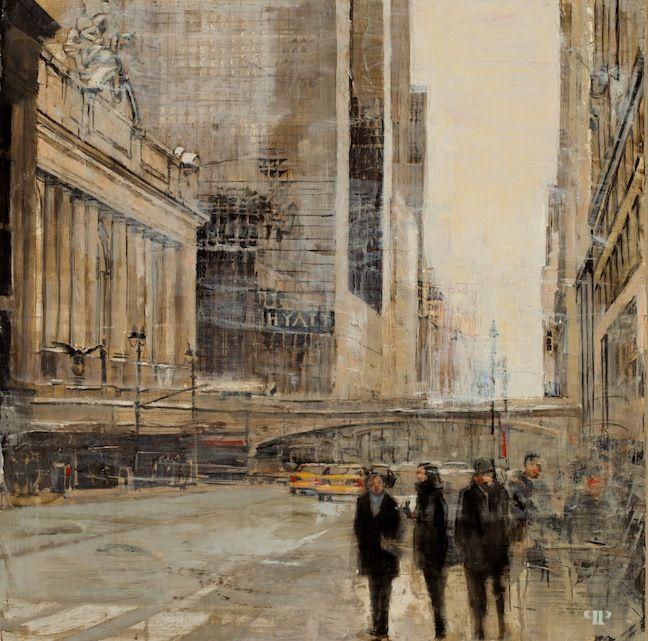 "Patrick Pietropoli, 42nd St & Madison Ave, 2014, Oil on Linen, 20"" x 20"" #art #axelle #painting #nyc #streetscape #urban"