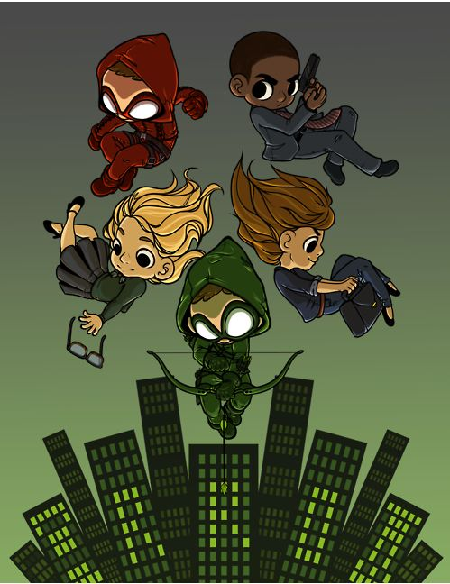 Arrow. Green Arrow (Oliver Queen), Felicity, Arsenal (Roy Harper), Diggs, and Laurel (Black Canary).