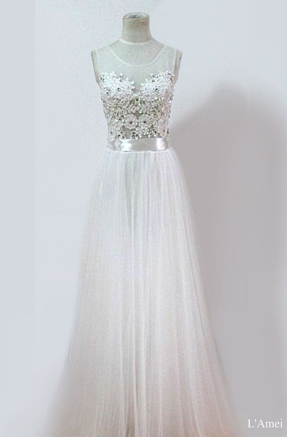 Affordable Long White Lace Wedding Bridal Dress. Also use as prom or formal dresses on Etsy, $352.32