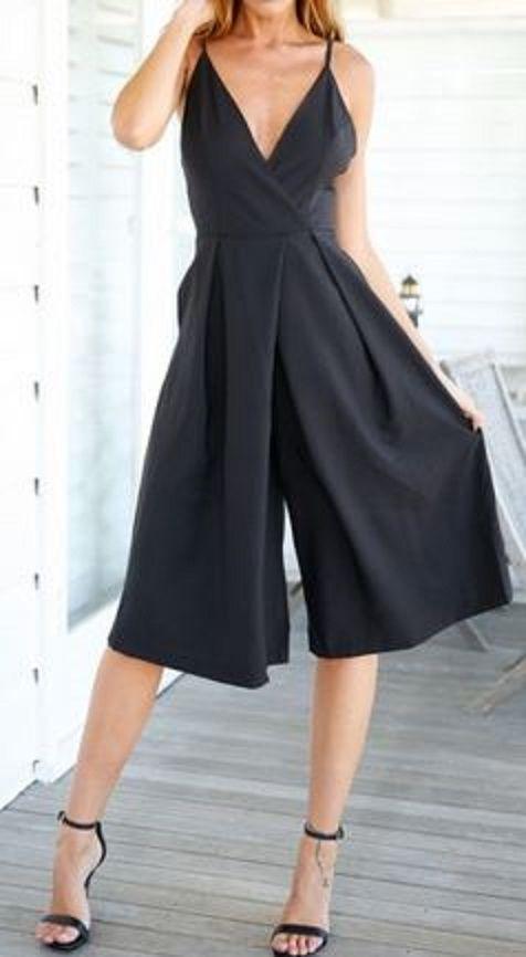 Love Love LOVE this Sexy Jumpsuit! Black Backless Condole Belt Five's Length Jumpsuit