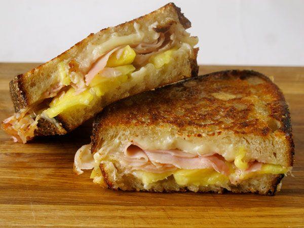 Pineapple, ham and cheese= Hawaiian grilled cheese sandwich.