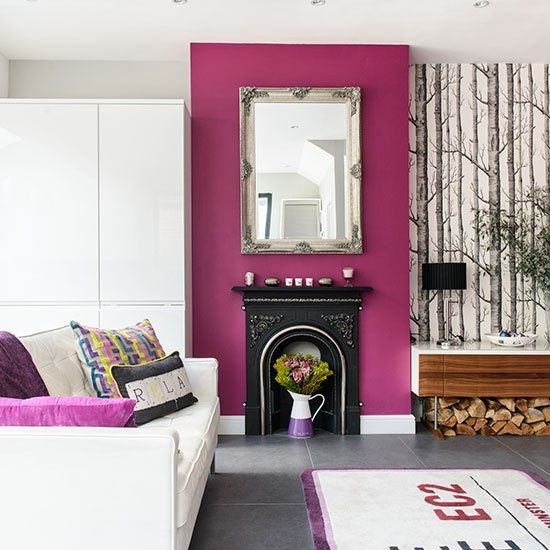 Superior White And Purple Living Room Part 28