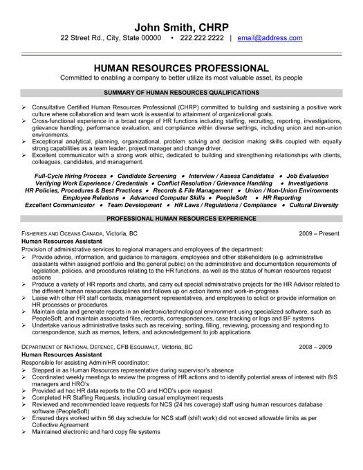 sample hr resume sample resume generalist human resources p1