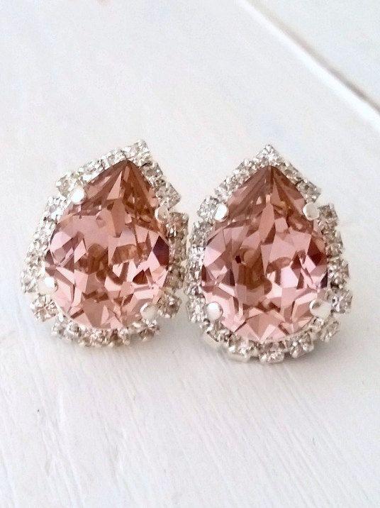 Blush earrings,blush pink stud earrings,Blush pink bridesmaid,bridal earrings,Swarovski earrings,crystal earring,Blush teardrop earring