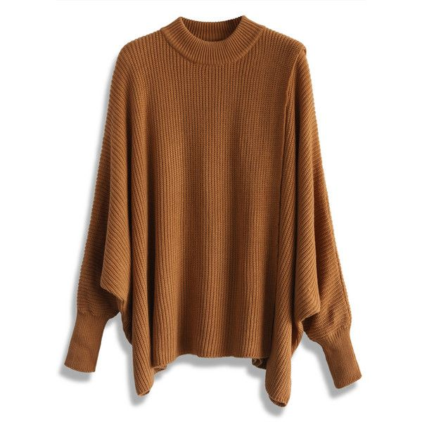 Chicwish Whims and Drifts Batwing Cape Top in Tan (71 CAD) ❤ liked on Polyvore featuring tops, brown, brown tops, batwing top and tan top