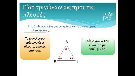 Μαθηματικά Ε Δημοτικού: Είδη τριγώνων ως προς τις πλευρές.