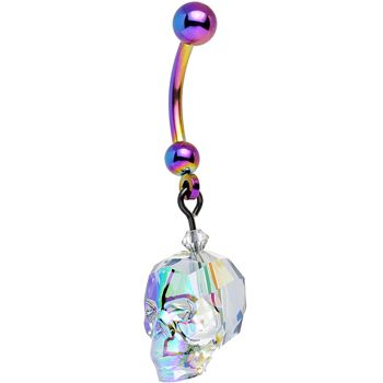 Rainbow Crystal Skull Dangle Belly Ring Created with Swarovski Crystals | Body Candy Body Jewelry