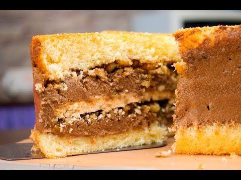 Торт с прослойкой из безе с орехами и заварным шоколадным кремом - Я - ТОРТодел! - YouTube