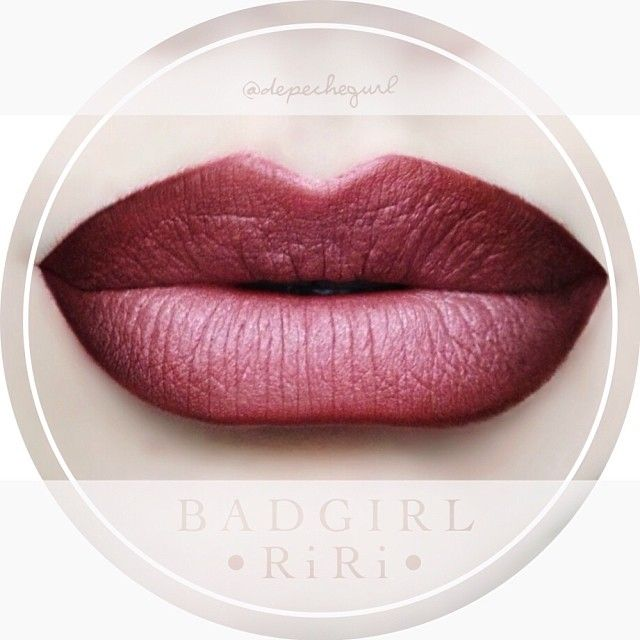 """#ShareIG """"Bad Girl RiRi"""" Lipstick (LE) from the MAC RiRi Hearts Holiday Collection. Products - NYX Lipliners in """"Chocolate"""" & """"Cocoa"""" and MAC """"Dervish"""" Lipliner with Stila """"Rose"""" Smudge Crayon in the center."""