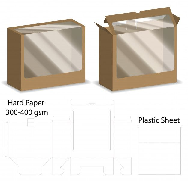 Download Box With Plastic Window Mockup With Dieline Packaging Template Design Modern Business Cards Design Plastic Windows