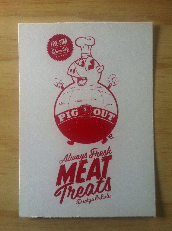 Pig Out hand screen print on fine art paper 140mm by dustysandlulu, $15.00