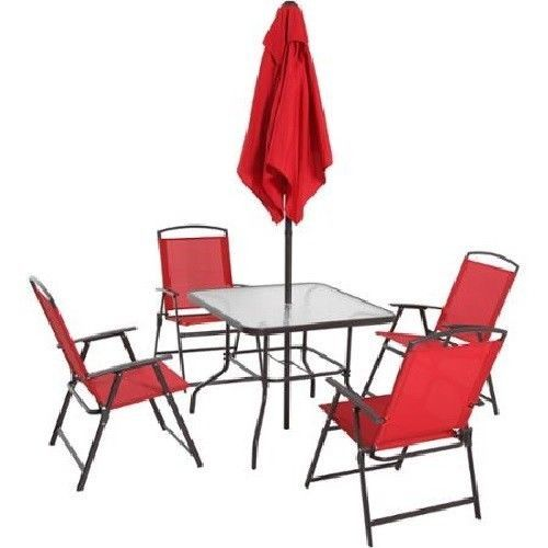 Patio Set With Umbrella Outdoor Dining Furniture Glass Table Folding Chairs  Red