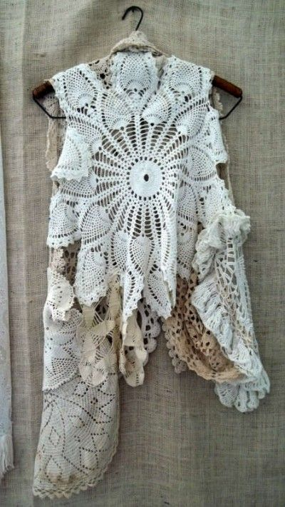 A feminine lacy Bohemian top made from vintage doilies....start hitting those thrift shops!