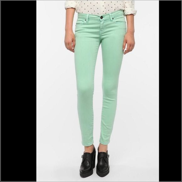 "Urban outfitters mint color high rise jeans, 26/30 mint color cigarette high rise jeans from urban outfitters, size 26/30, NWT. They run true to size on me, I wear size 26 most of the time. Cotton blend material, softy and stretchy. Length approx.39"", inseam 30"", rise 9"", hips 16"", waist 12.75"". No trade PayPal or hold. No lowballing please! Thanks! Urban Outfitters Jeans Skinny"