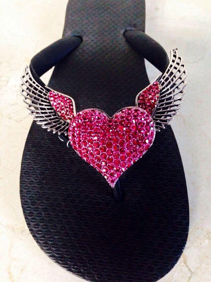 pink heart sparkly flip flops. #flipflops Tickled Pink~❥