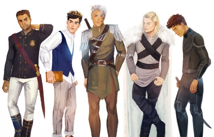 "@tasiams.tumblr.com: "" The Men from the Throne of Glass series (Left to right: Chaol, Dorian, Rowan, Aedion, Sam) """