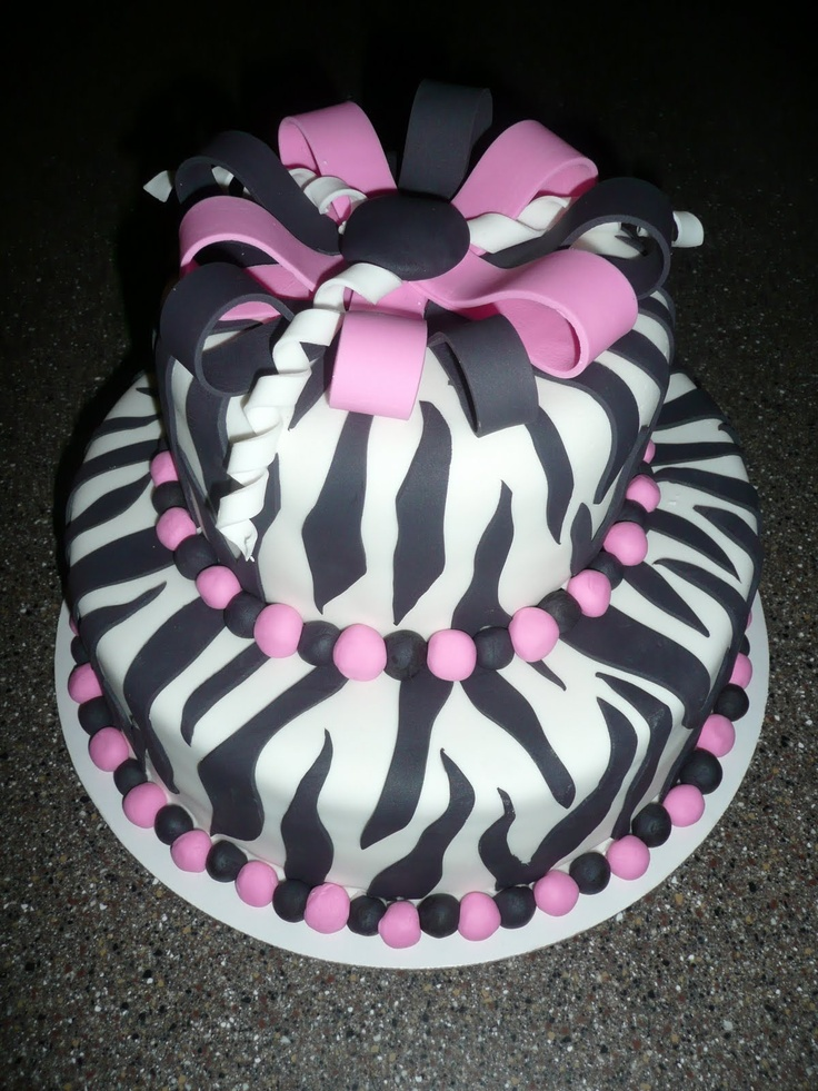 Zebra Design Birthday Cake : Black & Pink zebra print cake Baking Ideas and Recipes ...