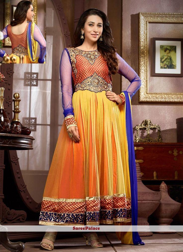 Karisma Kapoor Style Yellow And Orange Georgette Anarkali Suit