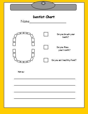 Dentist Chart for Dramatic Play Area for Dental Health from Making Learning Fun.