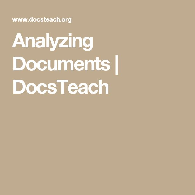 Analyzing Documents | DocsTeach