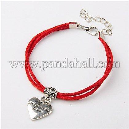 Faux Suede Cord Multi-strand Bracelets for Valentine's DayBJEW-JB01194-04-1