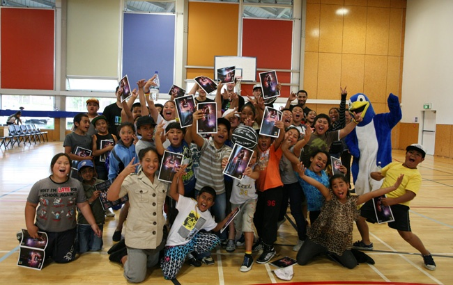 Kori and Otahuhu Primary School after the NZ Breakers visit to Otahuhu Recreation & Youth Centre