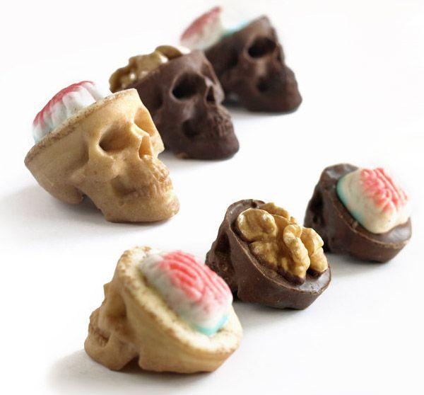 chocolate skulls with popcorn brains