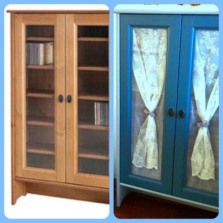 Cool meuble cddvd leksvik ikea relook portes peintes en for Meuble japonais bleu