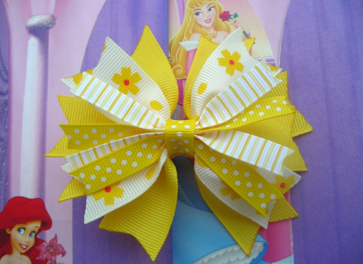 beautiful bows for girls   Beautiful Girls Toddler Yellow White Hair Bow Hair Clip NO SLIP French ...