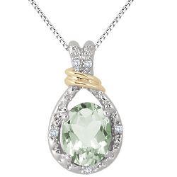 2 Carat Green Amethyst & Diamond Oval Two Tone Pendant