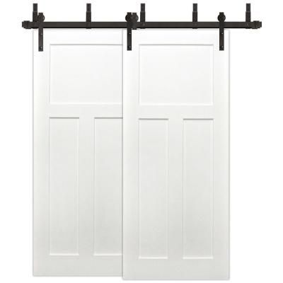Pacific Entries 72 In X 80 In Bypass Unfinished 3 Panel Solid Core Primed Pine Wood Sliding Barn Door With Bronze Hardware Kit White Prime In 2019 Double Sliding Barn Doors Wood