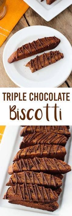 Triple Chocolate Bis Triple Chocolate Biscotti - perfectly crisp...  Triple Chocolate Bis Triple Chocolate Biscotti - perfectly crisp (but not too crisp) chocolate biscotti loaded with two kinds of chips and a chocolate drizzle. A crowd favorite! mysequinedlife.com Recipe : http://ift.tt/1hGiZgA And @ItsNutella  http://ift.tt/2v8iUYW