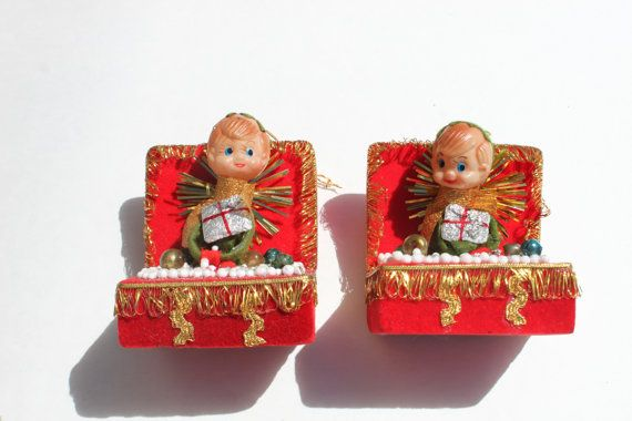 Vintage Gnome Christmas Tree ornamenst, Red Gold Pixie Elf in Red Chest, Retro Mod Ornament Pair
