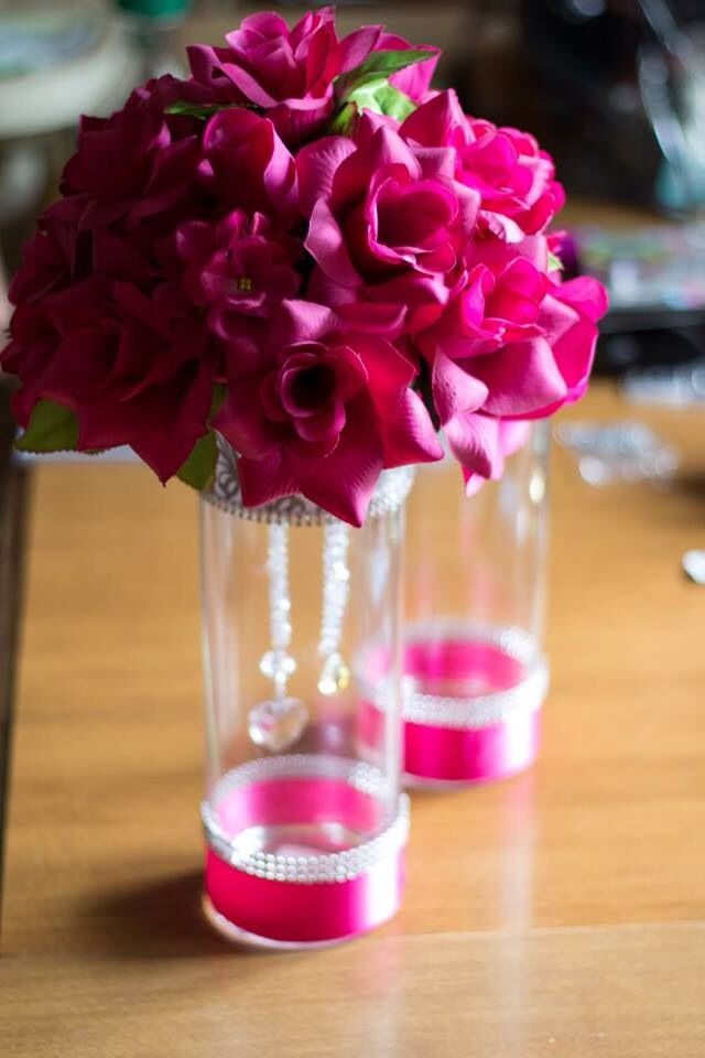 Pink Wedding Fl Centerpieces Bling Diy Silk Flowers Fuchsia And Silver