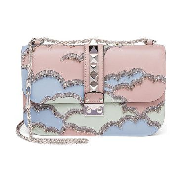 "Rocklock medium crystal leather crossbody bag by Valentino. Signature studded style with crystal cloud designChain strap, 12"" drop doubled, 24"" drop singlePush-lock flap closure..."
