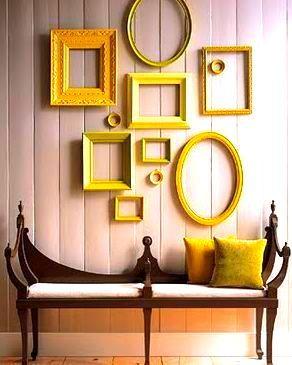 cadres anciens peints en jaune