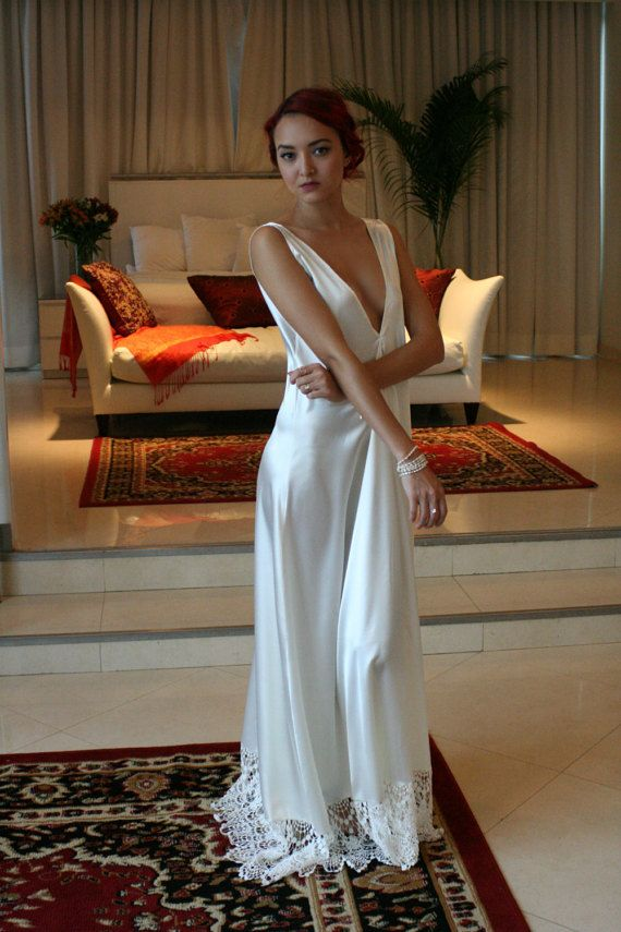Bridal Nightgown Satin Off White Wedding Lingerie Venise Lace Sleepwear Art Deco Paris Chic Boudoir Elegance Backless Gown Sarafina Prima