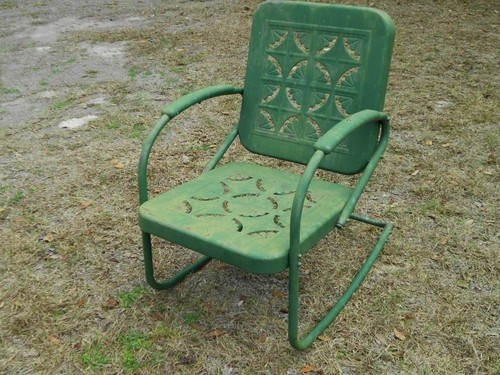 VINTAGE PRIMITIVE metal SPRING rocking CHAIR GARDEN PORCH PATIO old GREEN pai