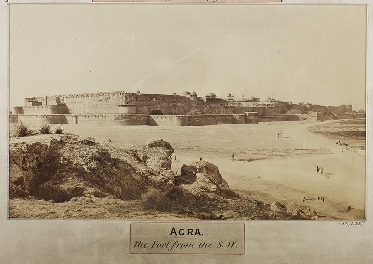 Albumen print of a view of the Red Fort at Agra. Built in red sandstone during the 16th century by the third Mughal emperor Akbar (r.1556-1605) as the Imperial city of the Mughal ruler.